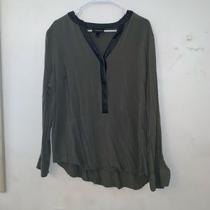 Green and Leather button up top